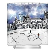 Lonely Winter Campus Shower Curtain