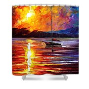Lonely Yacht - Palette Knife Oil Painting On Canvas By Leonid Afremov Shower Curtain