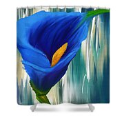 Lonesome And Blue- Blue Calla Lily Paintings Shower Curtain