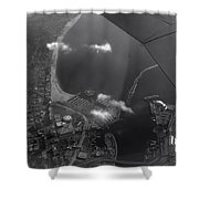 Long Beach Ca Aerial Bw Shower Curtain
