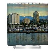 Long Beach Cityscape   Shower Curtain