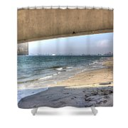 Long Beach From Beneath The Pier Shower Curtain