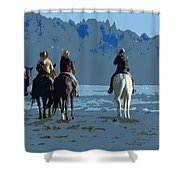 Long Beach Horses Study Shower Curtain