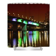 Long Beach Skyline At Night Shower Curtain
