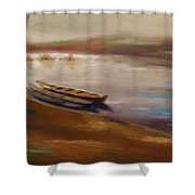 Long Boats At The Crossing Shower Curtain