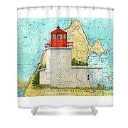 Long Eddy Pt Lighthouse Nb Canada Chart Art Peek Shower Curtain