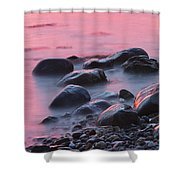 Long Exsposure Of Rocks And Waves At Sunset Maine Shower Curtain
