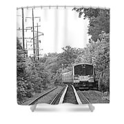 Long Island Railroad Pulling Into Station Shower Curtain