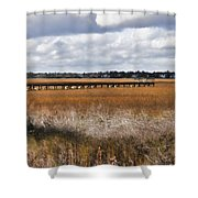Long Marsh Dock Shower Curtain