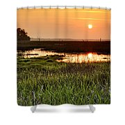 Long Marsh View Shower Curtain