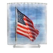 Long May She Wave Shower Curtain by Kerri Farley