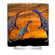 Long Necked Long Tailed Family Of Dinosaurs At Sunset Shower Curtain