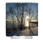 Long Shadows In The Snow Shower Curtain