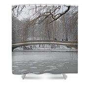 Long Snow Covered Bridge Shower Curtain