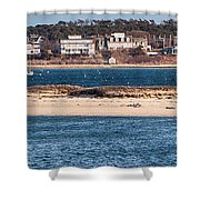 long view of Brant point lighthouse Shower Curtain