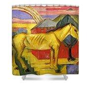 Long Yellow Horse 1913 Shower Curtain