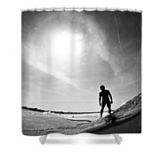 Longboarder Riding A Small Wave Shower Curtain