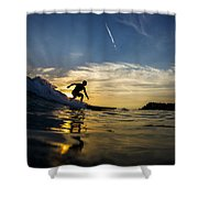 Longboarding Into The Sunset Shower Curtain
