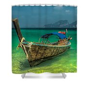Longboat Shower Curtain by Adrian Evans