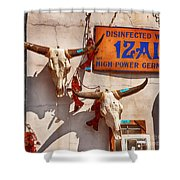 Longhorn Skulls On The Wall Shower Curtain