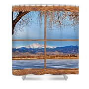 Longs Peak Across The Lake Barn Wood Picture Window Frame View Shower Curtain by James BO  Insogna