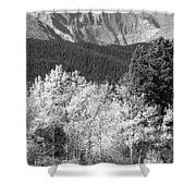Longs Peak Autumn Scenic Bw View Shower Curtain