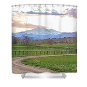 Longs Peak Springtime Sunset View  Shower Curtain