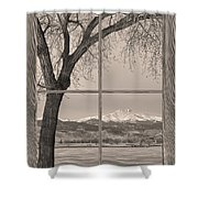 Longs Peak Winter Lake Barn Wood Picture Window Sepia View Shower Curtain