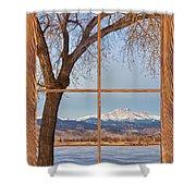 Longs Peak Winter Lake Barn Wood Picture Window View Shower Curtain