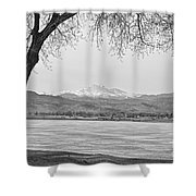 Longs Peak Winter View In Black And White Shower Curtain