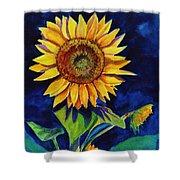 Midnight Sunflower Shower Curtain