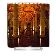Looking Along Row Of Columns Shower Curtain
