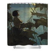 Looking At The Moon Circa 1916 Shower Curtain