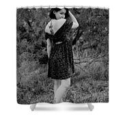 Looking Back In Black And White Shower Curtain