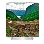 Looking Back To Lake Louise From Trail To Plain Of Six Glaciers In Banff Np-ab  Shower Curtain