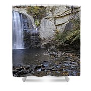 Looking Glass Falls With Trout Fishing - North Carolina Waterfalls Series Shower Curtain