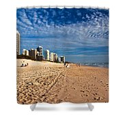 Looking North Along The Beach Shower Curtain