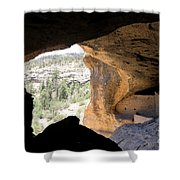 Looking Out Of A Cave Of Gila Dwellings Shower Curtain