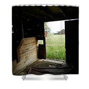 Looking Out Old Barn Shower Curtain