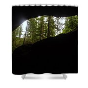 Looking Outside Boulder Cave Shower Curtain