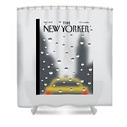 Looking Through A Window On A Rainy New York Day Shower Curtain by Christoph Niemann
