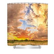Looking Through The Colorful Sunset To Blue Shower Curtain