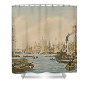 Looking Towards London Bridge Shower Curtain by William Parrot