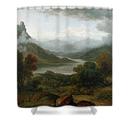 Looking Towards The Val Daosta, Bernese Shower Curtain