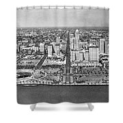 Looking Up Flagler Street At Downtown Miami Shower Curtain