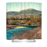 Looking Up The Payette River Shower Curtain