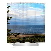 Looking West At The Fishing Boats Shower Curtain