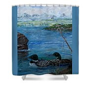 Loon Family And Morning Mist Shower Curtain