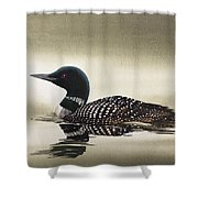 Loon In Still Waters Shower Curtain