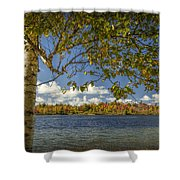 Loon Lake In Autumn With White Birch Tree Shower Curtain